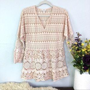 Sundance sheer floral lace tunic blush pink boho